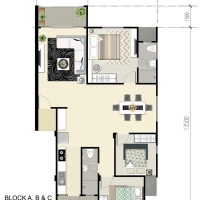 Eduvista Apartment Floorplan Type A (Corner Unit)