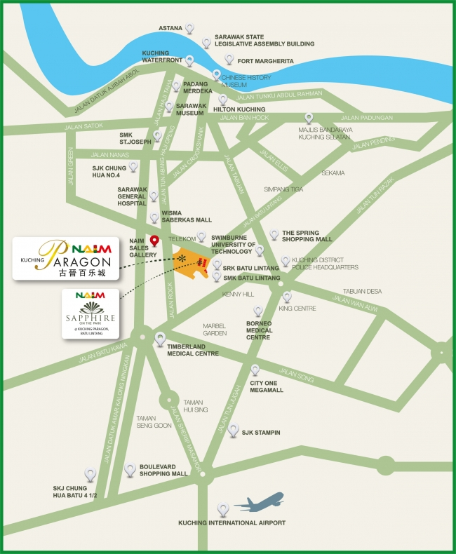 Kuching Paragon Naim Property - Kuching map