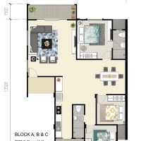 Eduvista Apartment Floorplan Type B (Corner Unit)